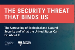 Top Security Experts Identify Ecological Disruption as a Major Security Threat  in a Landmark Report by the Converging Risks Lab of the Council on Strategic Risks