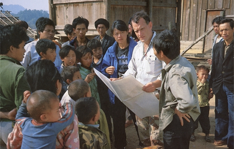 Dr. Alan Rabinowitz (holding map) in the field. CREDIT: George Schaller.