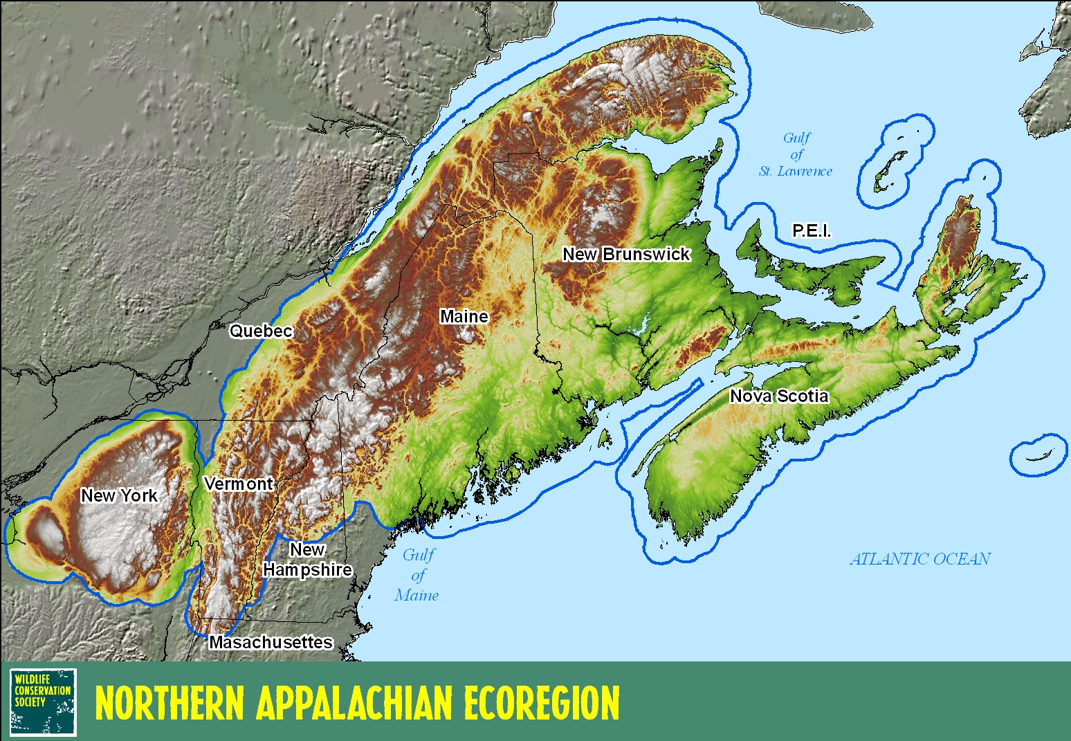 Northern Appalachians - Us map with appalachian mountains